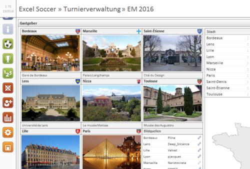Excel-Soccer zur Fussball-Europameisterschaft 2016 in Frankreich