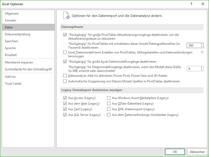 Neue Optionen zu den Legacy-Datenimport-Assistenten