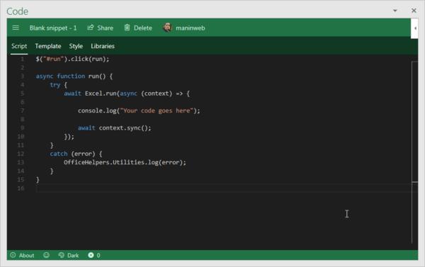 Ein Minimal-Script in Script Lab