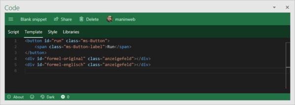 HTML-Code in Script Lab erstellen