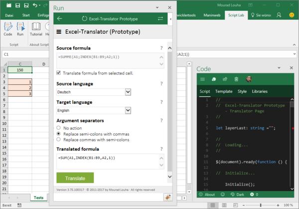 Excel-Translator Prototyp mit Script Lab