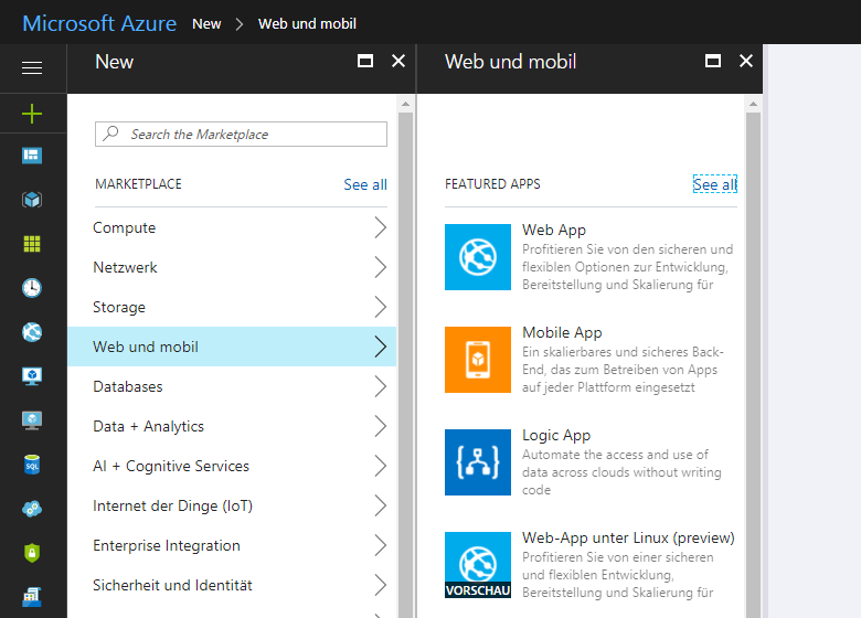 Website-Server in Microsoft Azure anlegen (1)