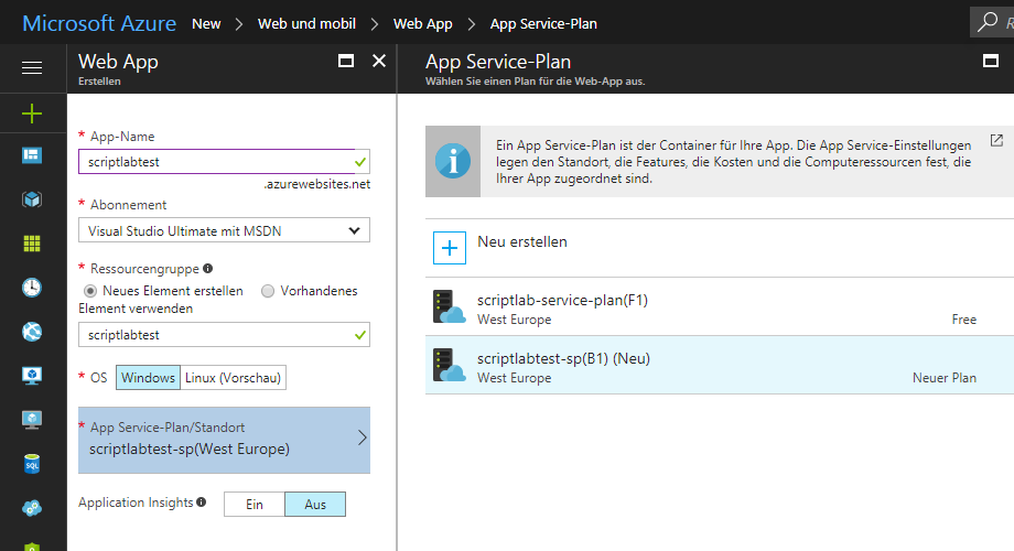 Website-Server in Microsoft Azure anlegen (2)