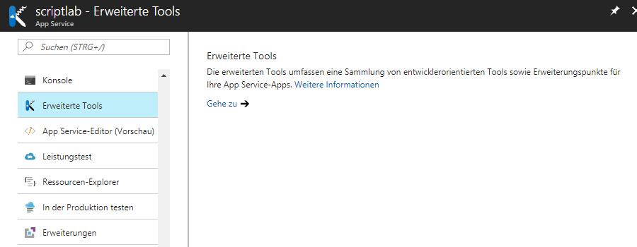 Entwicklungstools für einen Website-Server bei Azure