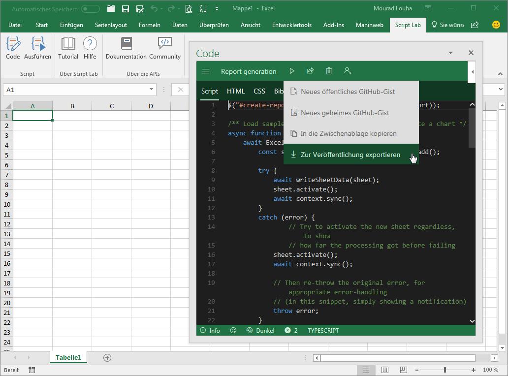 Script Lab Script exportieren