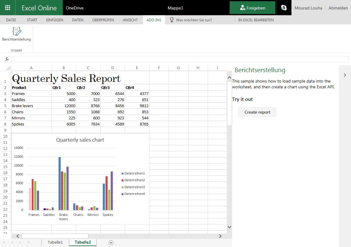 Add-In in Excel Online ausführen