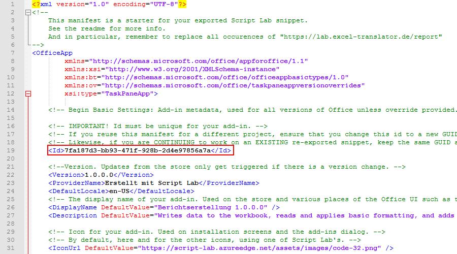 GUID und Version im XML-Manifest
