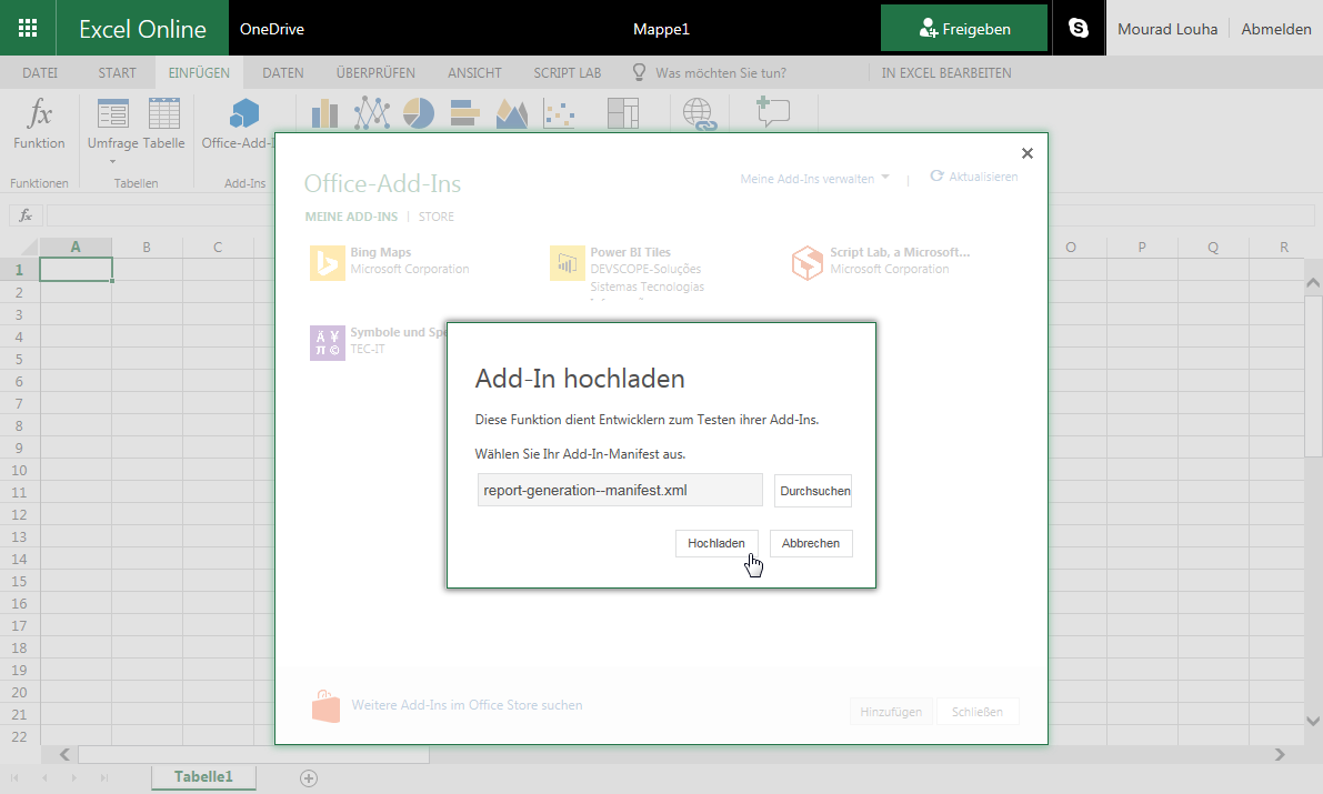 Add-In in Excel Online hochladen