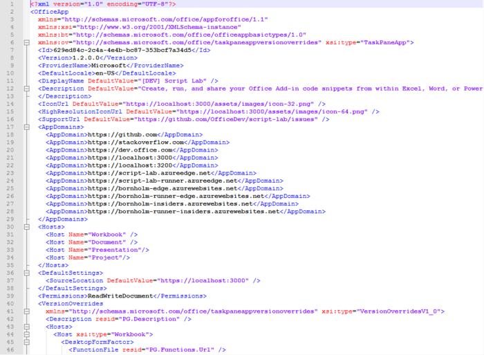 Microsoft Script Lab Manifest