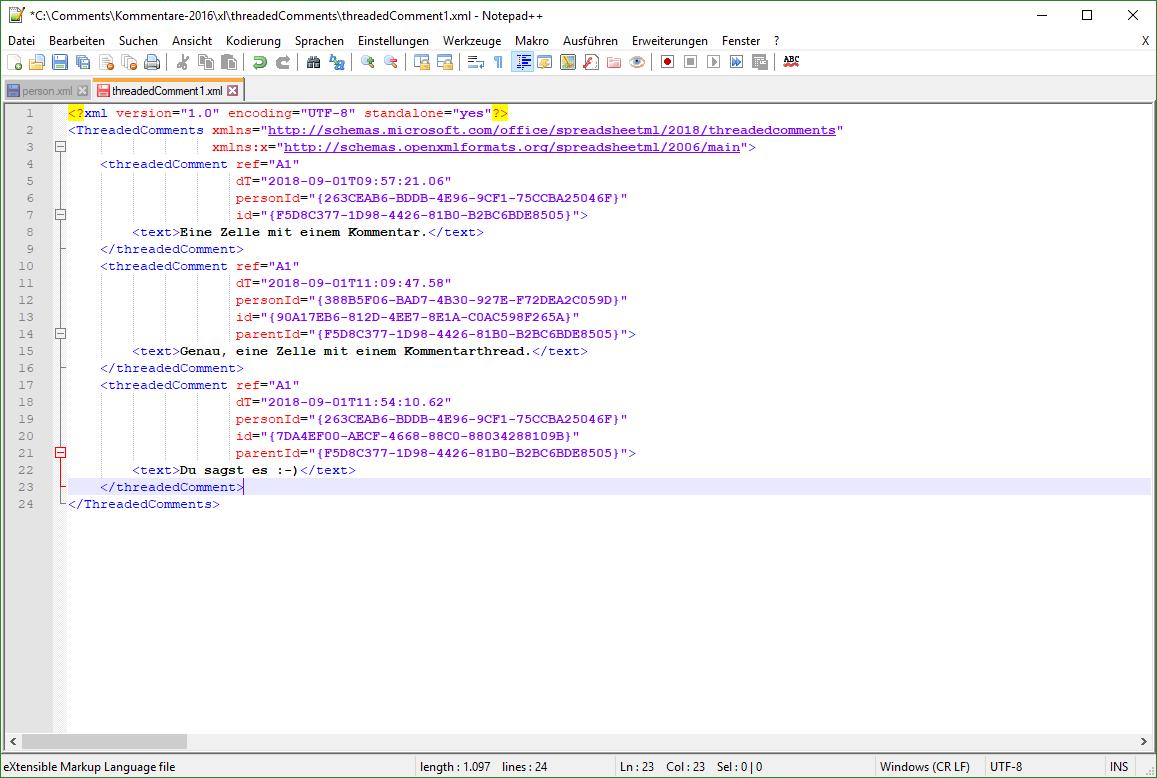 XML-Datei zu den Kommentaren