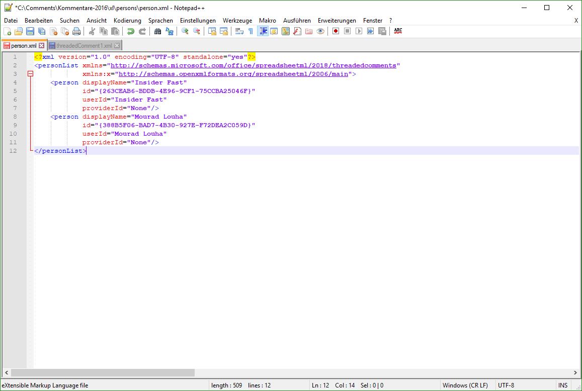 XML-Datei zu den Kommentatoren