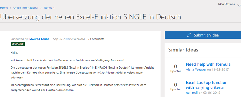 Beispielbeitrag in der Gruppe German in der MS Tech Community