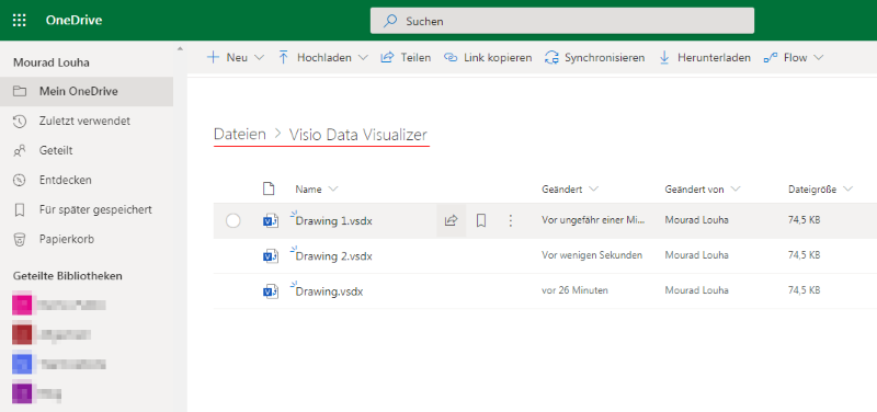 Visio Data Visualizer Ordner in OneDrive