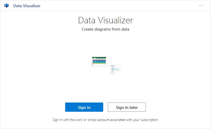 Anmeldung beim Visio Data Visualizer
