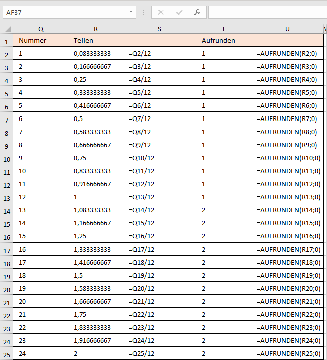 Berechnen der Spaltennummer
