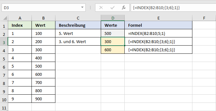 Einfache INDEX-Funktion