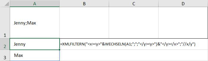 Funktion XMLFILTERN zum Aufteilen von Text