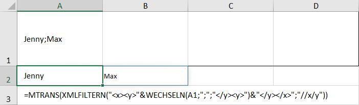 Transponierte Funktion XMLFILTERN zum Aufteilen von Text