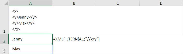 Funktion XMLFILTERN und dynamische Arrays