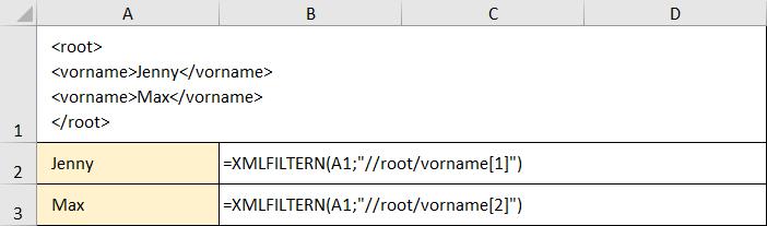 Vereinfachtes Beispiel zum XMLFILTERN
