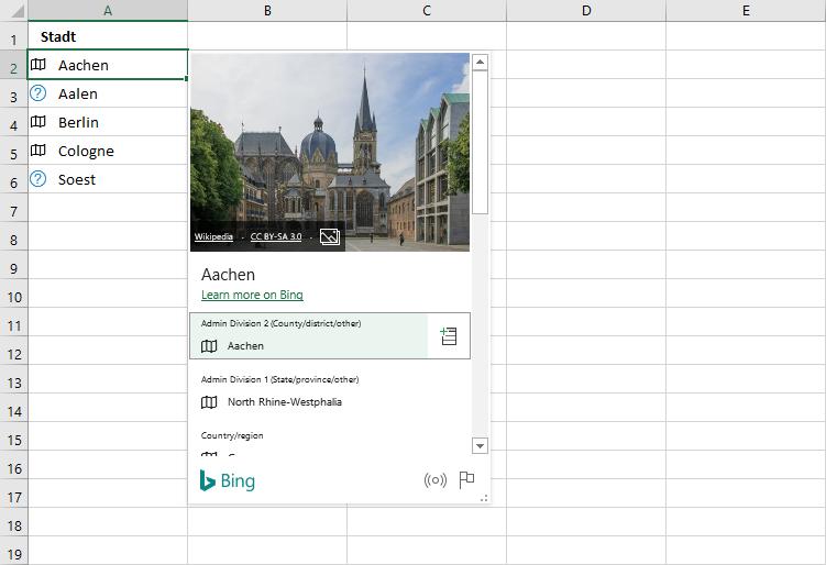 Datenkarte zum Datentyp Geografie in Excel