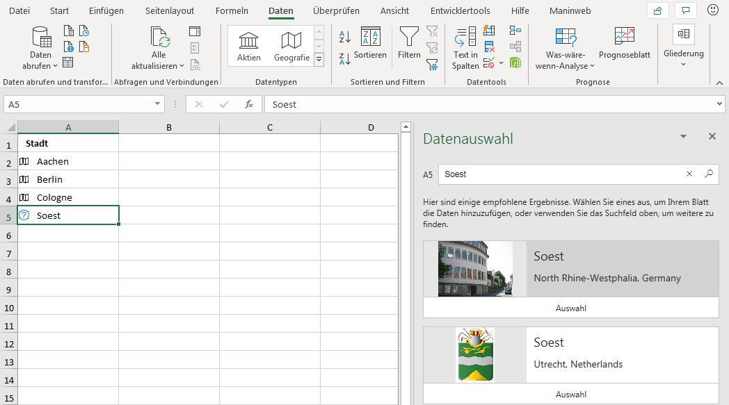 Datentyp Geografie in Excel
