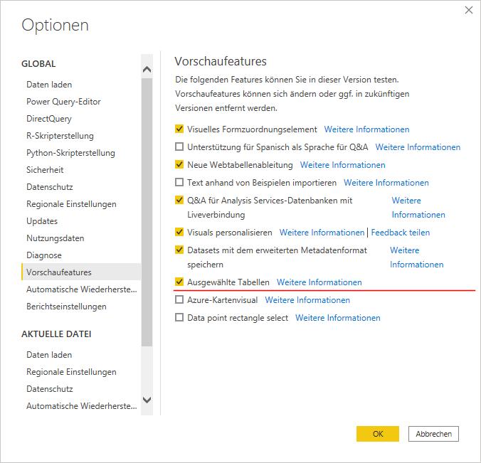 Optionen Power BI Desktop