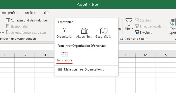 Mein Datentyp in Excel