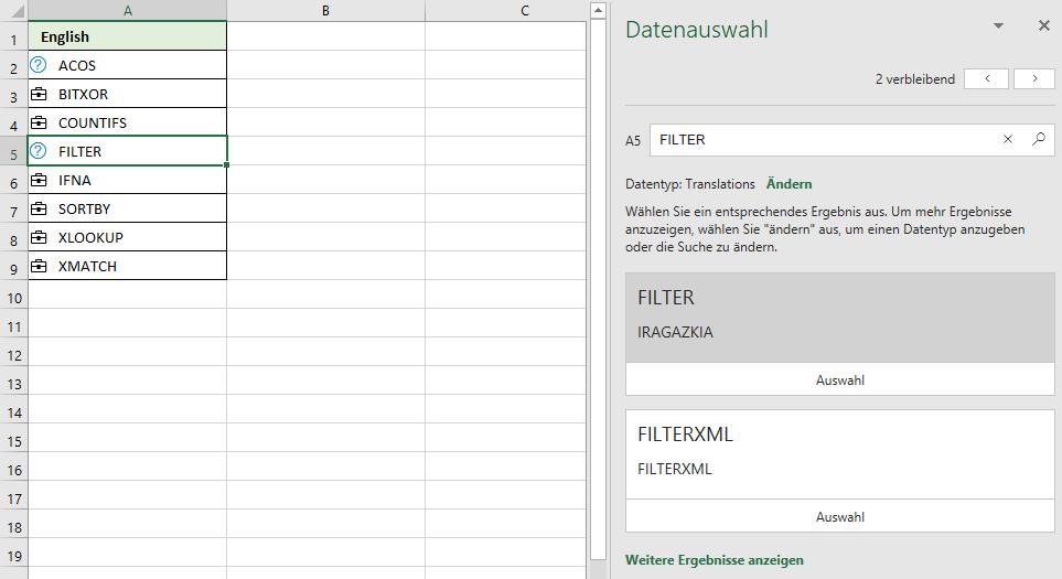 Beispiele zu meinen Datentyp in Excel