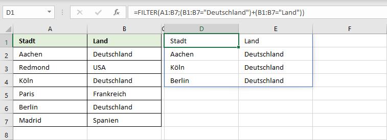Daten filtern mit der Funktion FILTER und Überschriften behalten
