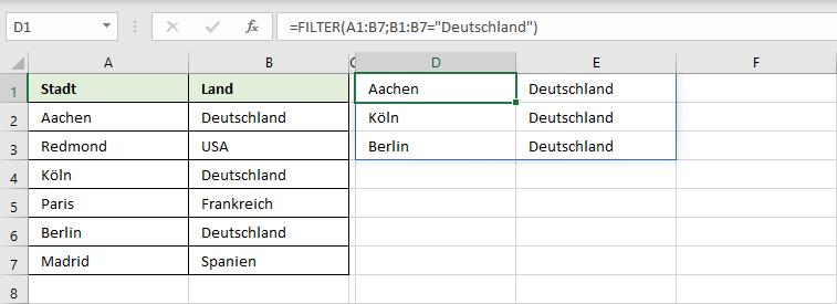 Daten filtern mit der Funktion FILTER