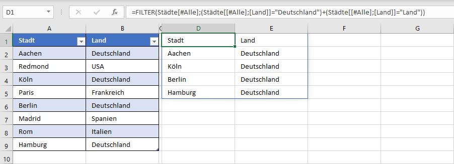 Daten einer intelligenten Tabelle filtern mit der Funktion FILTER