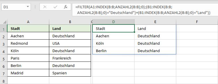 INDEX, ANZAHL2 und FILTER kombinieren