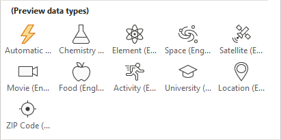 Wolfram-Datentypen in Excel Englisch