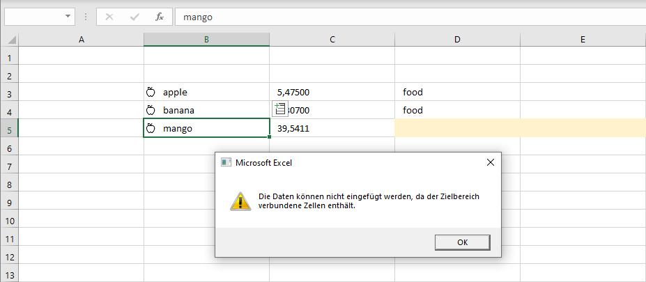 Fehlermeldung zum Wolfram-Datentyp zu Nahrungsmitteln