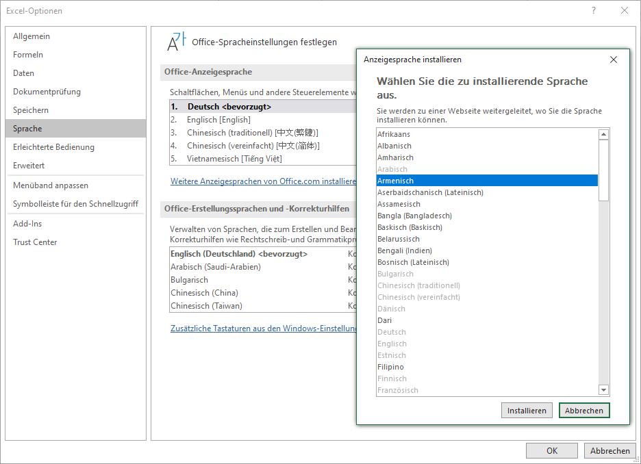 Office-Sprachpaket installieren