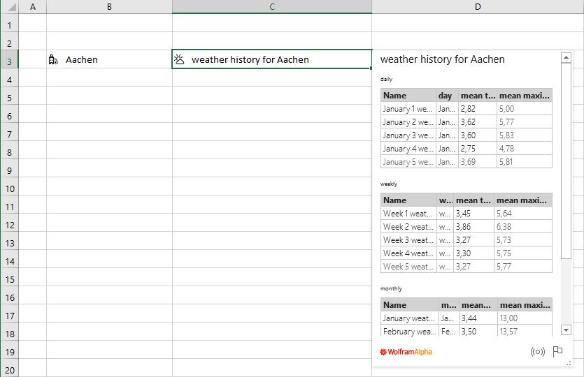 Tabelle im Wolfram-Datentyp für Orte