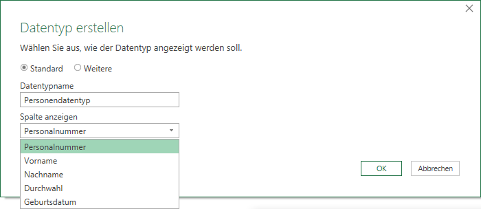 Assistent zur Erstellung eines Datentyps in Power Query