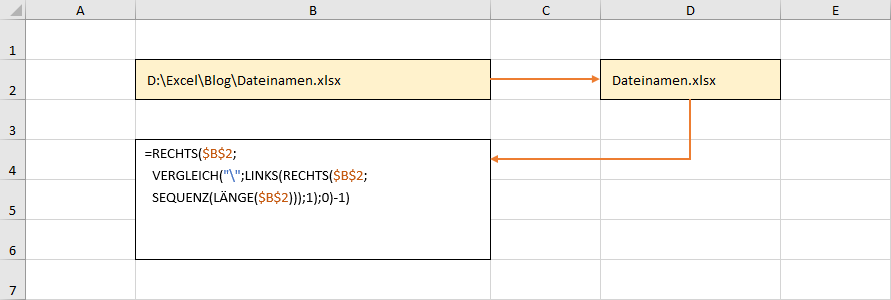 Formel zur Ermittlung des Dateinamens mit dynamischen Arrays