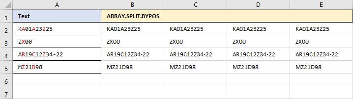 ARRAY.SPLIT.BYPOS - Aufgefüllte Startmatrix