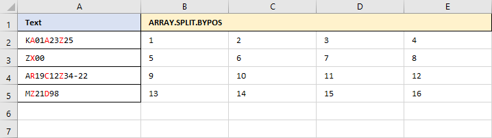 ARRAY.SPLIT.BYPOS - Generierte Startmatrix