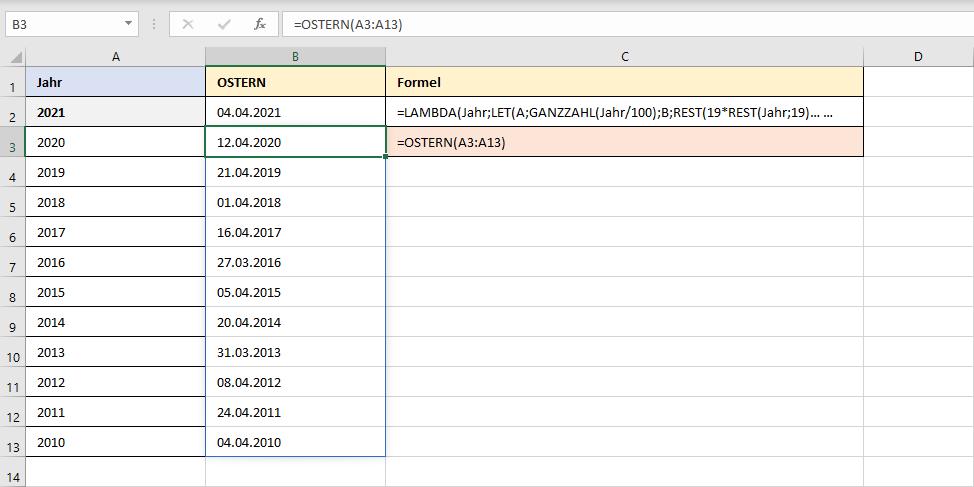 OSTERN als benutzerdefinierte Excel-Funktion