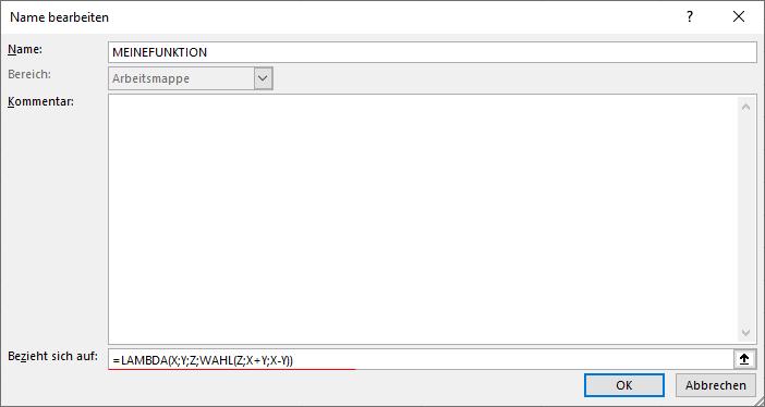 Benutzerdefinierte Funktion als Name