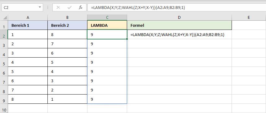 Beispiel zu einer LAMBDA-Funktion