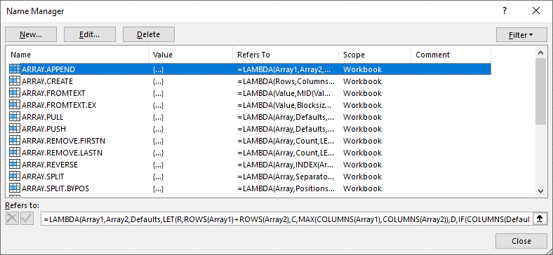Custom Array Functions in the Name Manager