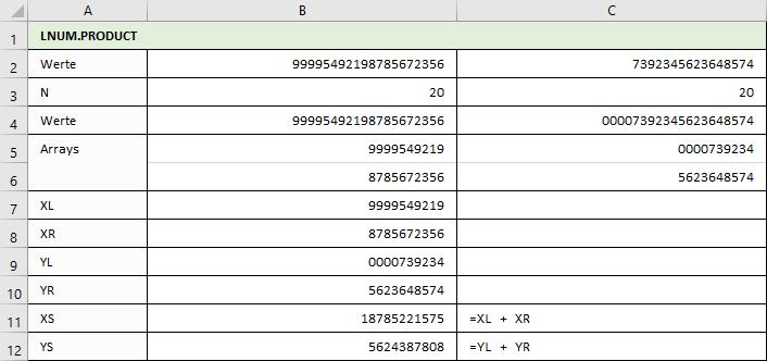 LNUM.PRODUKT - Berechnungen von XL, XR, YR, YL, XS und YS