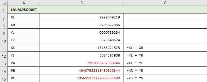 LNUM.PRODUKT - Berechnungen von PA, PB und PC