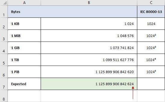 Pebibytes in Excel