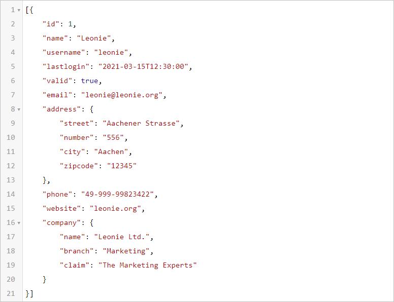 JSON.FROMRANGE - JSON-Beispiel